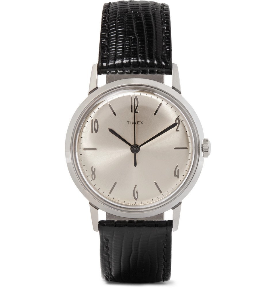 Photo: Timex - Marlin Stainless Steel and Cross-Grain Leather Watch - Men - Black