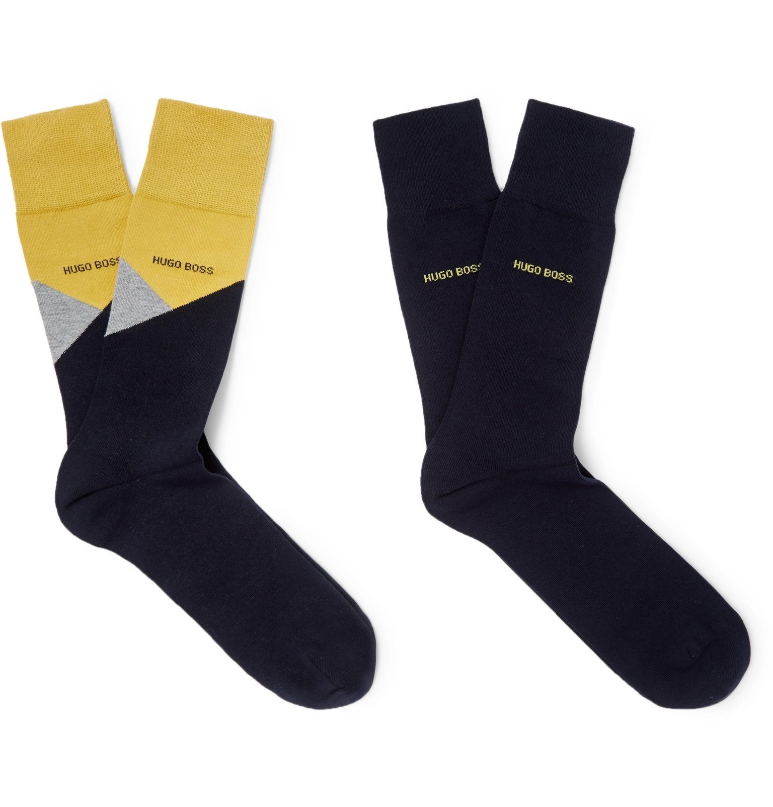 Photo: Hugo Boss - Two-Pack Stretch Cotton-Blend Socks - Blue