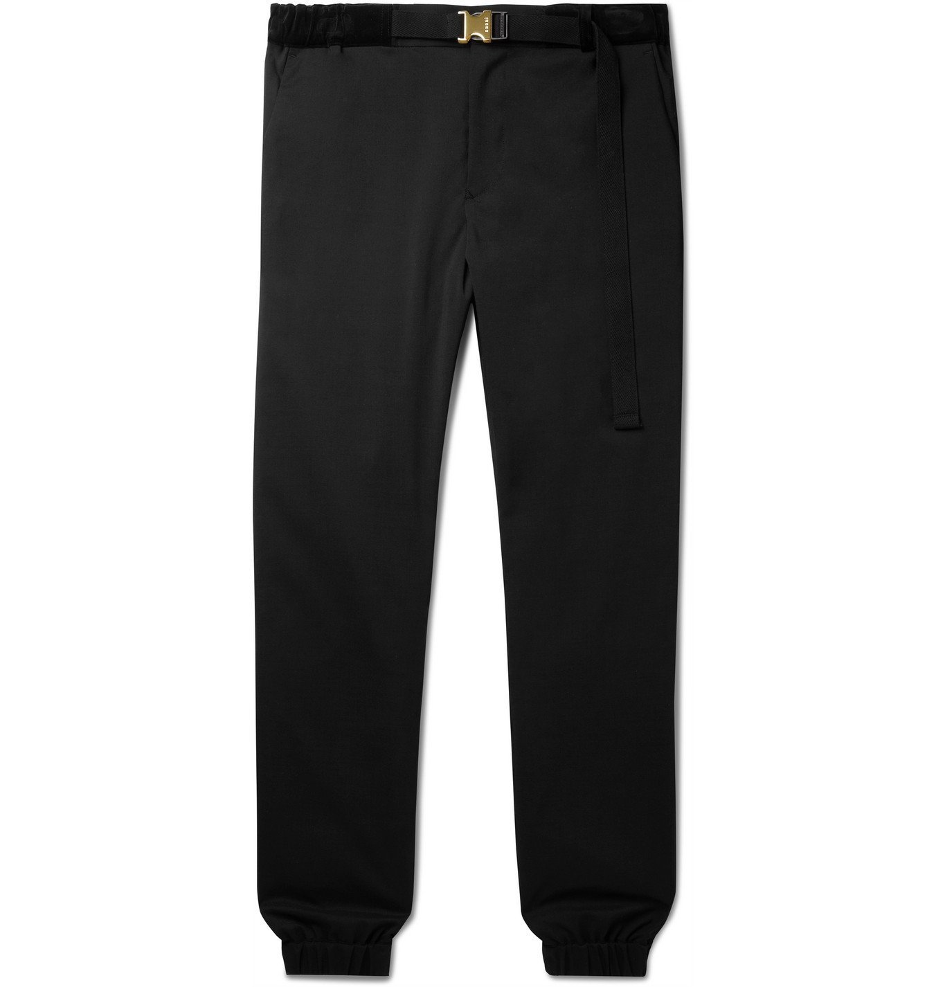 Sacai - Tapered Belted Velvet-Trimmed Woven Trousers - Black