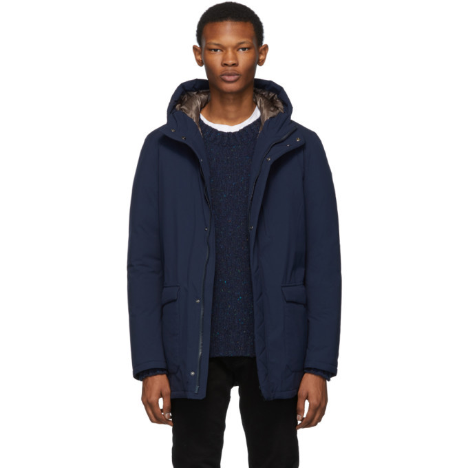 Photo: Herno Navy Down Hooded Coat