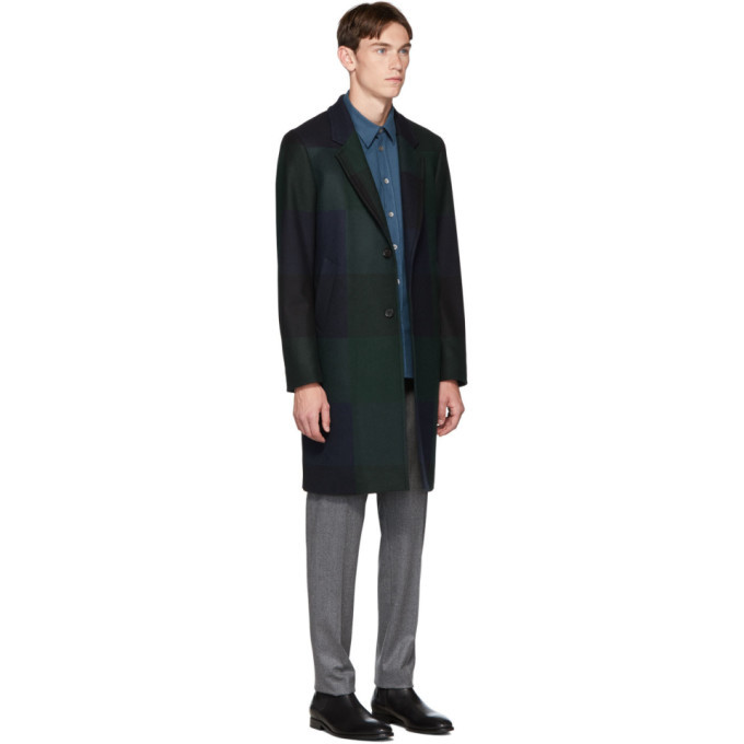 PS by Paul Smith Navy and Green Check Two-Button Epsom Coat