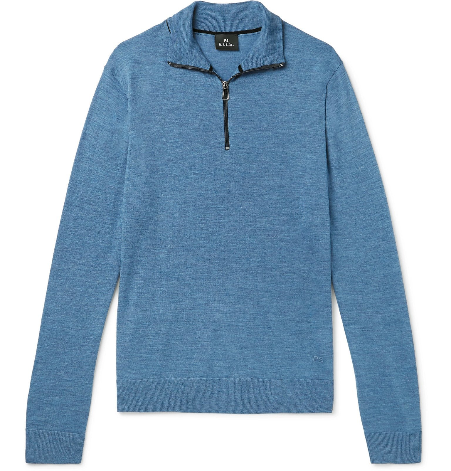 Photo: PS Paul Smith - Mélange Merino Wool Half-Zip Sweater - Blue