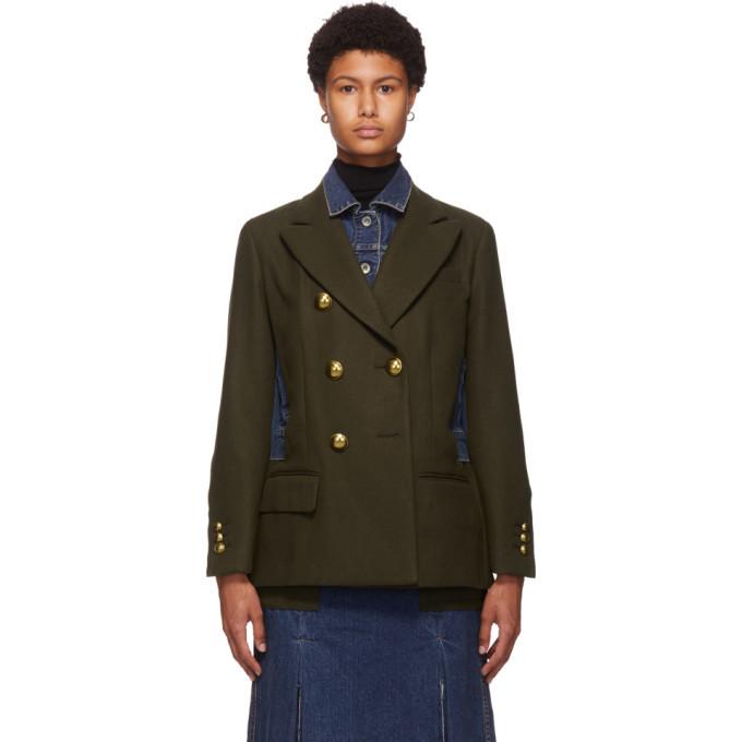 Sacai Khaki and Blue Wool Denim Combo Jacket