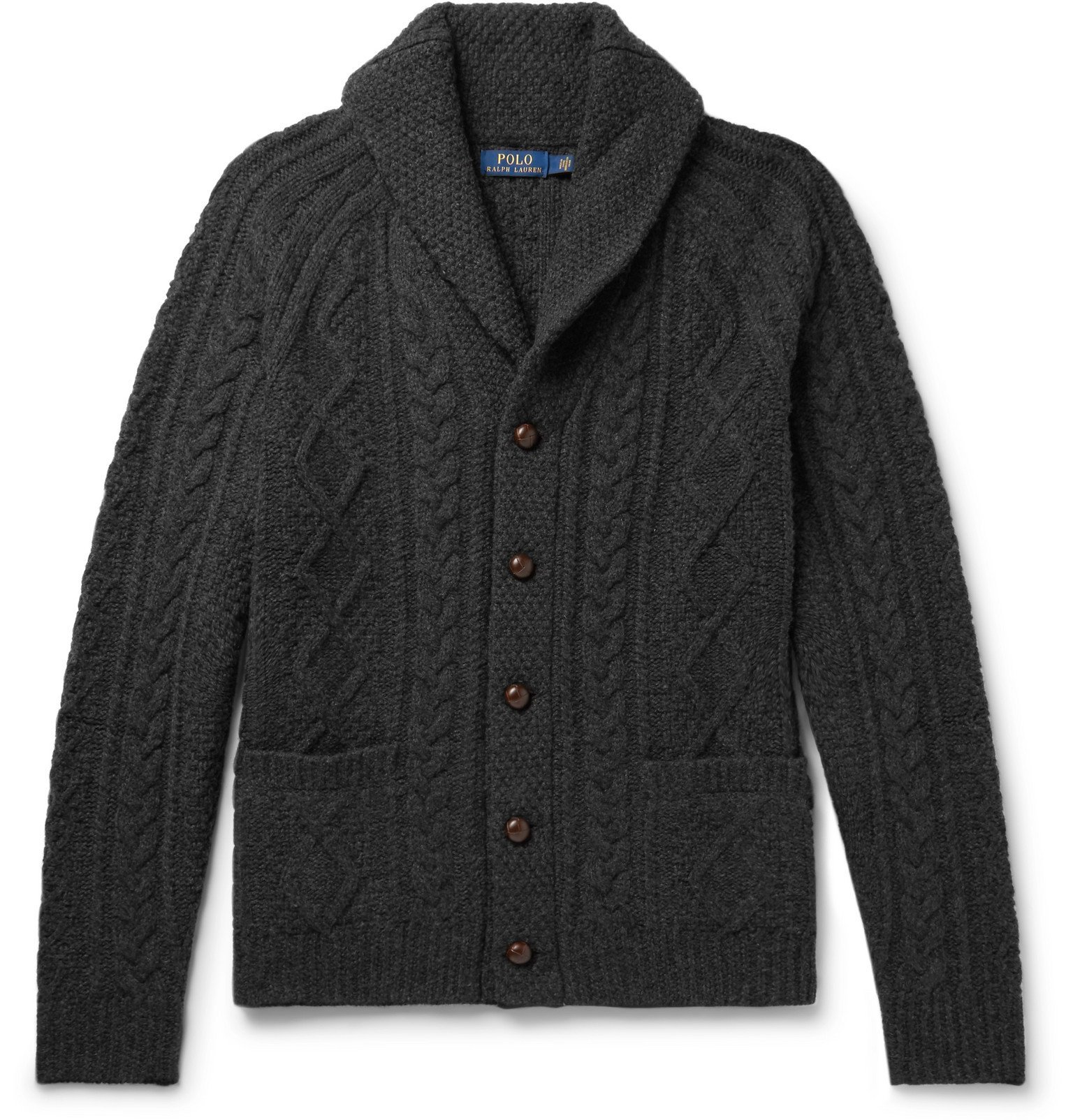 Photo: Polo Ralph Lauren - Shawl-Collar Cable-Knit Wool and Cashmere-Blend Cardigan - Black