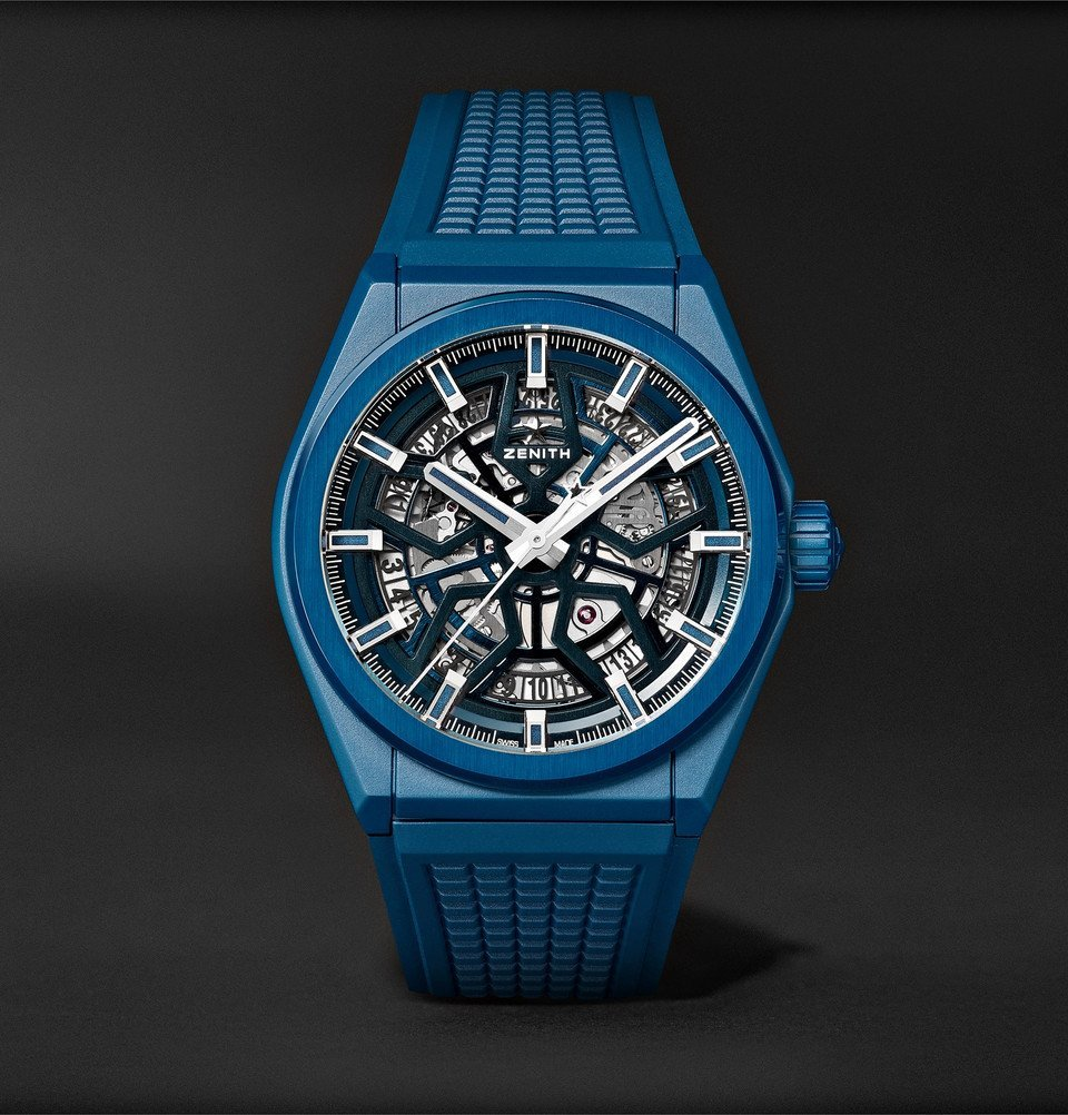 Photo: Zenith - Defy Classic Automatic 41mm Ceramic and Rubber Watch - Blue