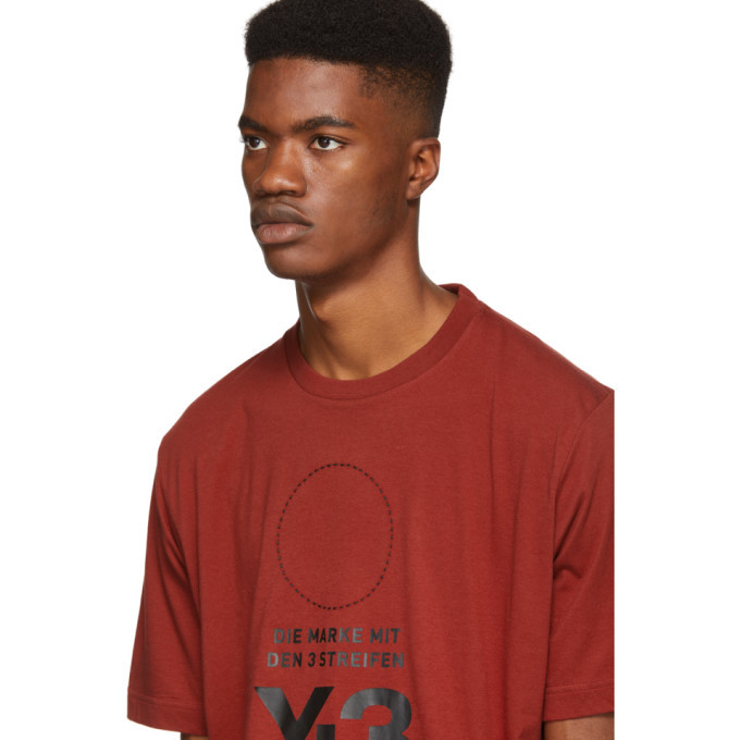 Y-3 Red Stacked Logo T-Shirt