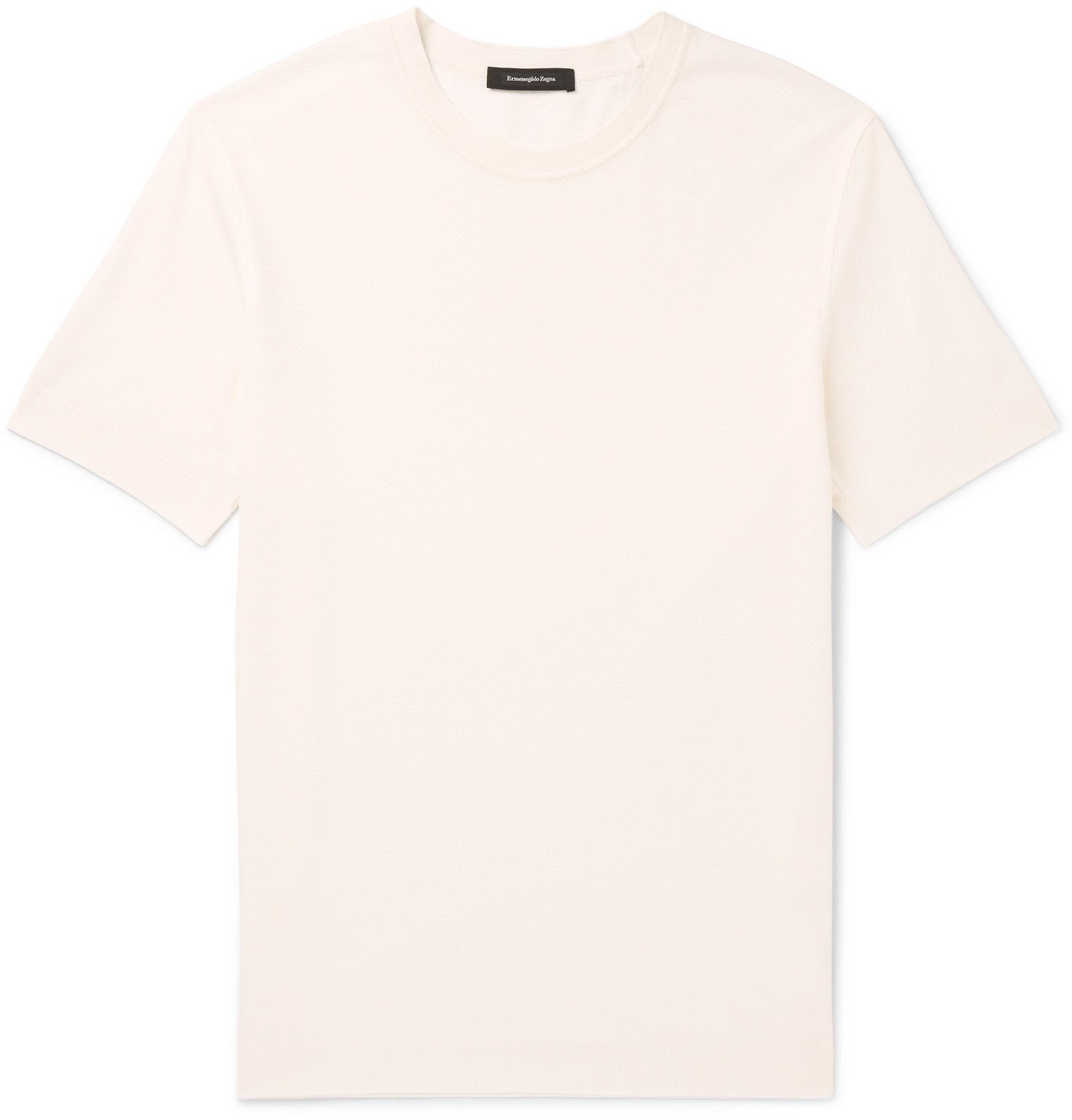 Photo: Ermenegildo Zegna - Waffle-Knit Silk and Cotton-Blend T-Shirt - Neutrals