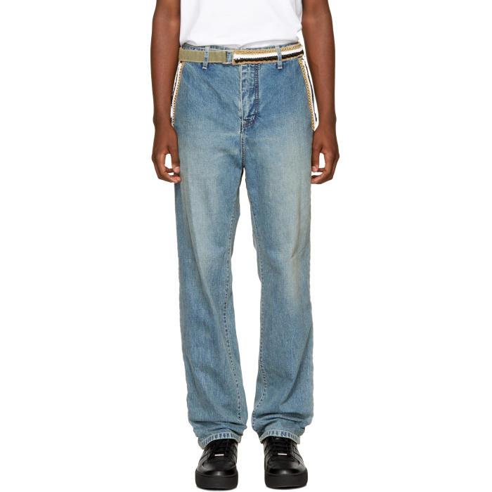 Sacai Blue Embroidered Jeans