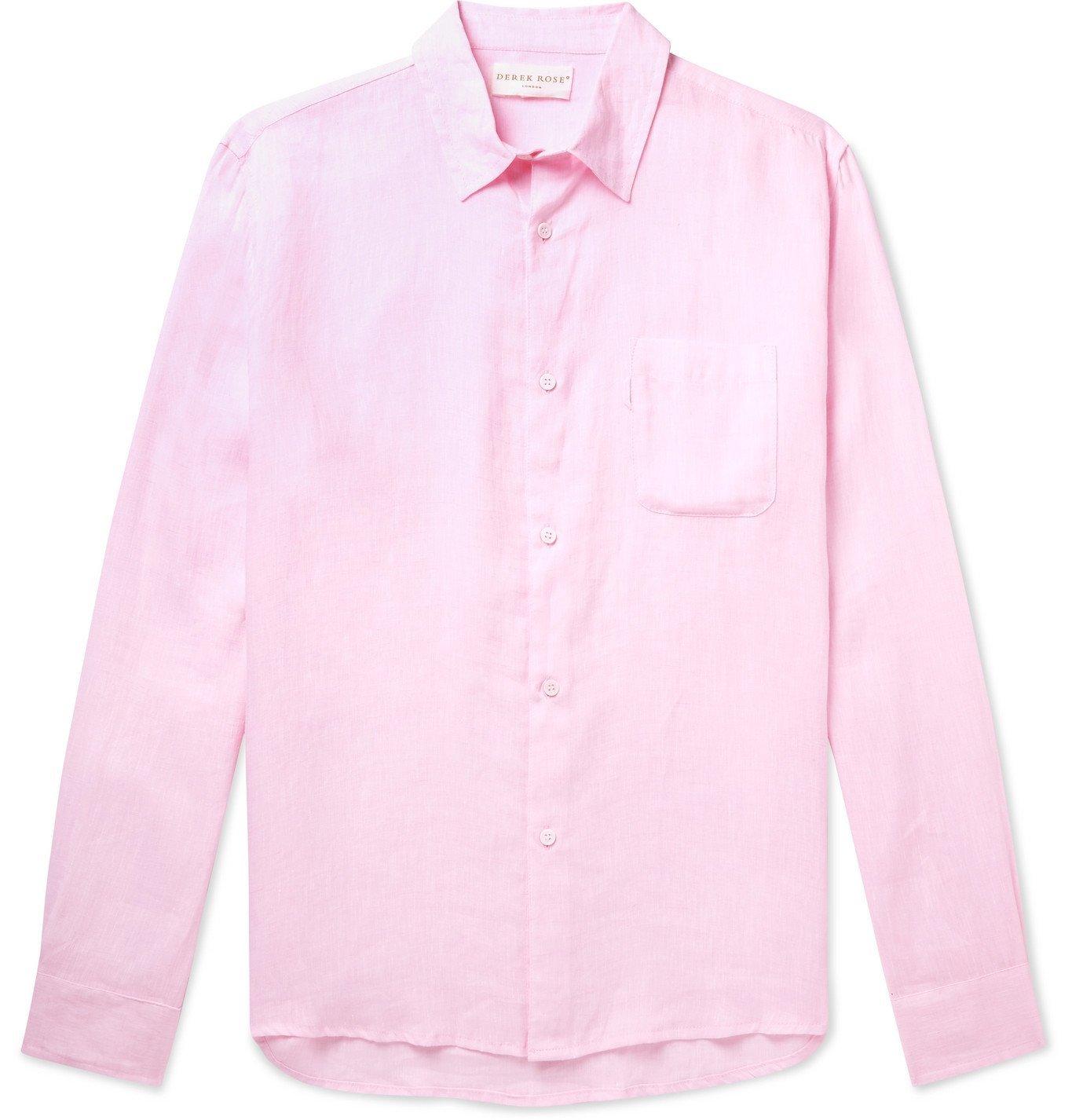 Photo: DEREK ROSE - Monaco Linen Shirt - Pink