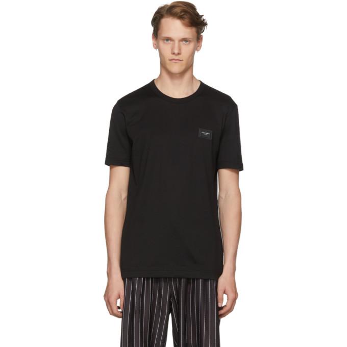 Photo: Dolce and Gabbana Black Logo Plaque T-Shirt