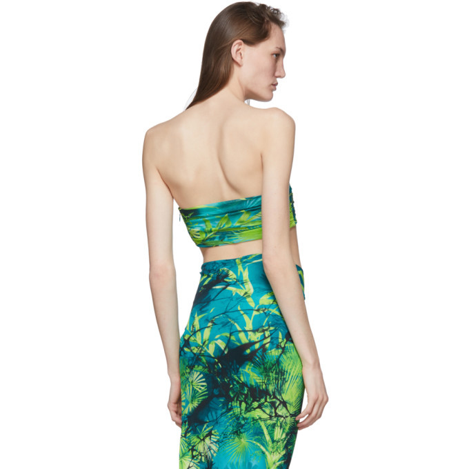 Versace Green Jungle Print Bandeau Top