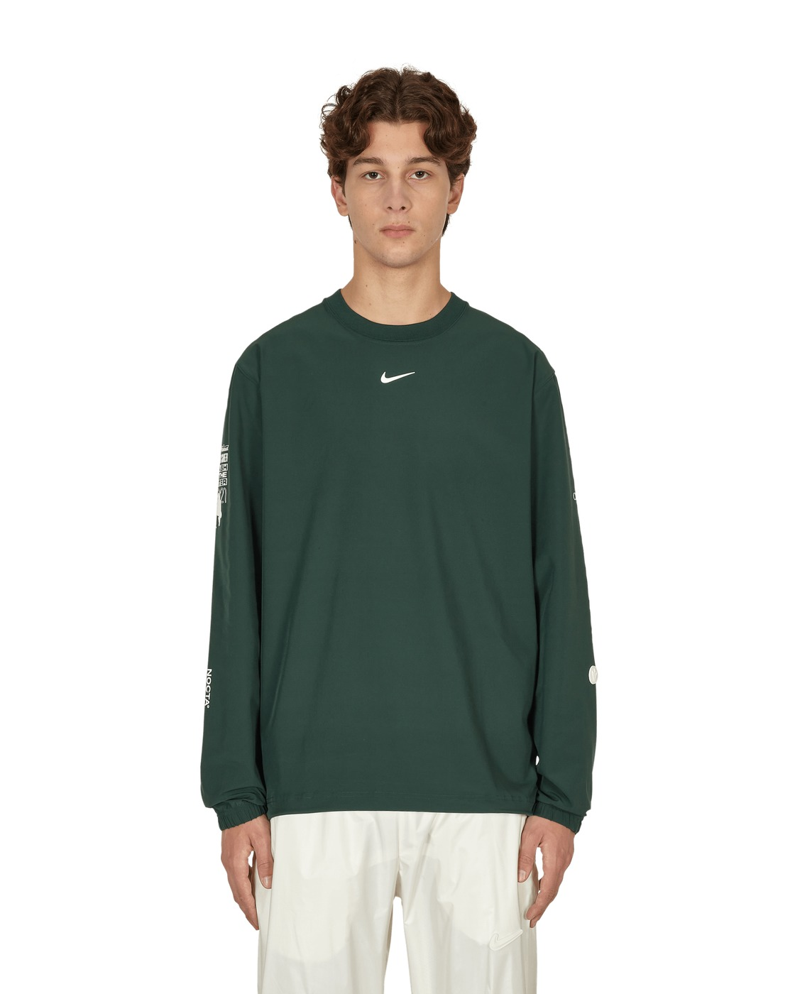Photo: Nike Special Project Nocta Woven Crewneck Sweatshirt Pro Green/Black