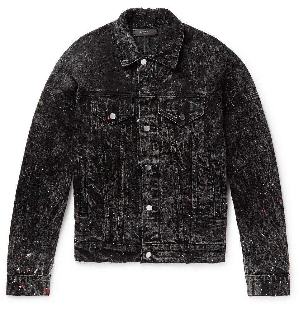 Photo: AMIRI - Oversized Striped Paint-Splattered Denim Jacket - Black