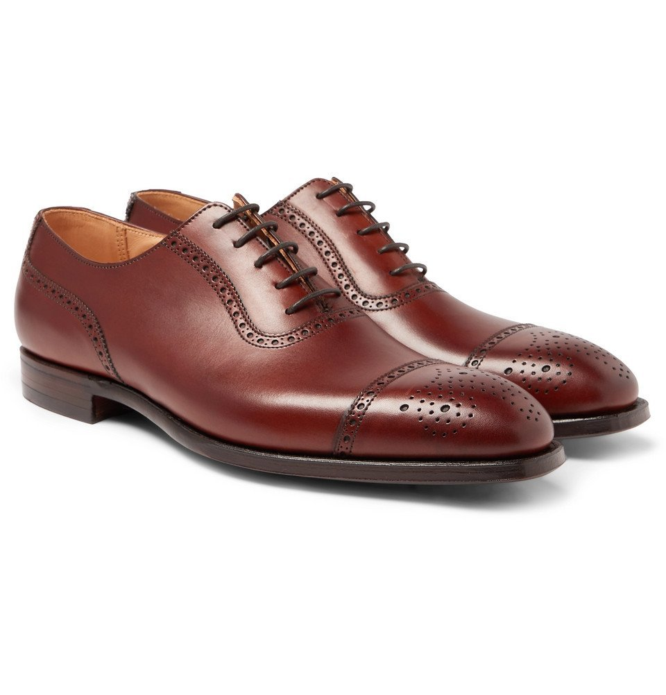 Photo: George Cleverley - Adam Cap-Toe Burnished-Leather Oxford Brogues - Brown