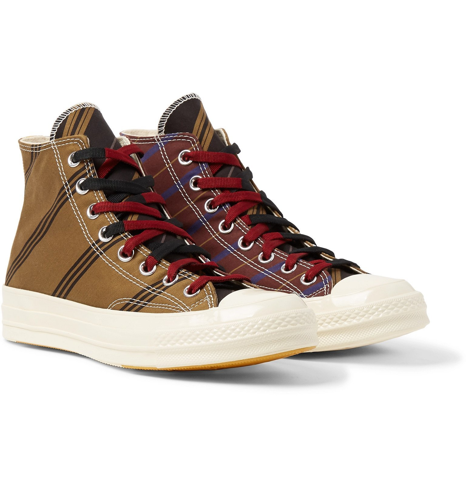 Photo: Converse - Chuck 70 Striped Canvas High-Top Sneakers - Brown
