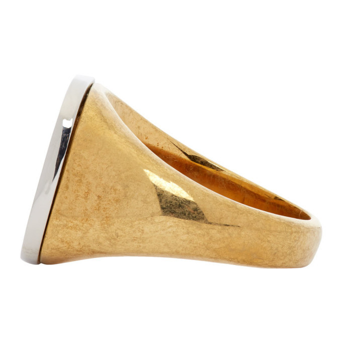 Versace Gold Greek Key Signet Ring