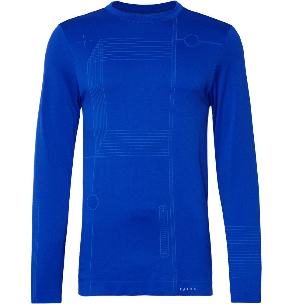 Photo: FALKE Ergonomic Sport System - Blueprint 2.0 Printed Stretch-Jersey Running T-Shirt - Bright blue