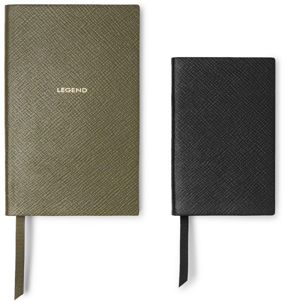 Photo: Smythson - Panama Cross-Grain Leather Notebook Set - Green