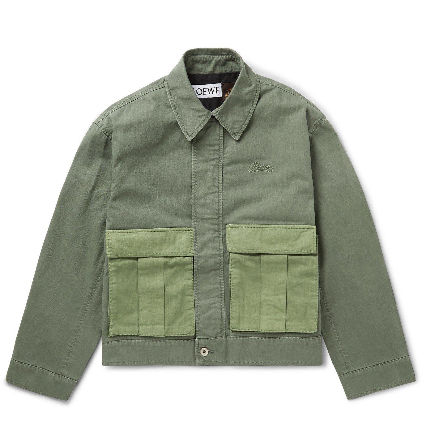 Photo: Loewe - Paula's Ibiza Colour-Block Logo-Embroidered Cotton Jacket - Green