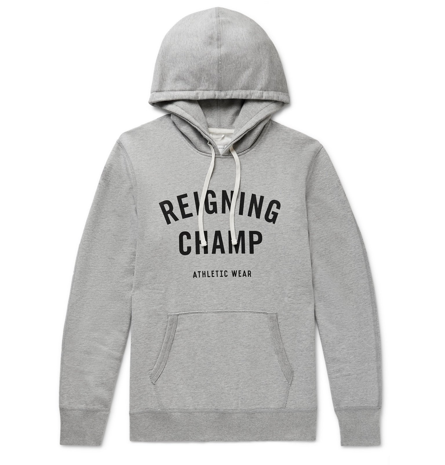 Photo: Reigning Champ - Logo-Print Loopback Cotton-Jersey Hoodie - Gray