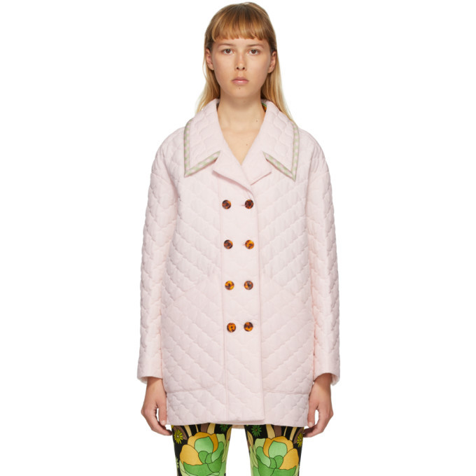 Photo: Fendi Pink Silk Washed Crepe Quilted Jacket