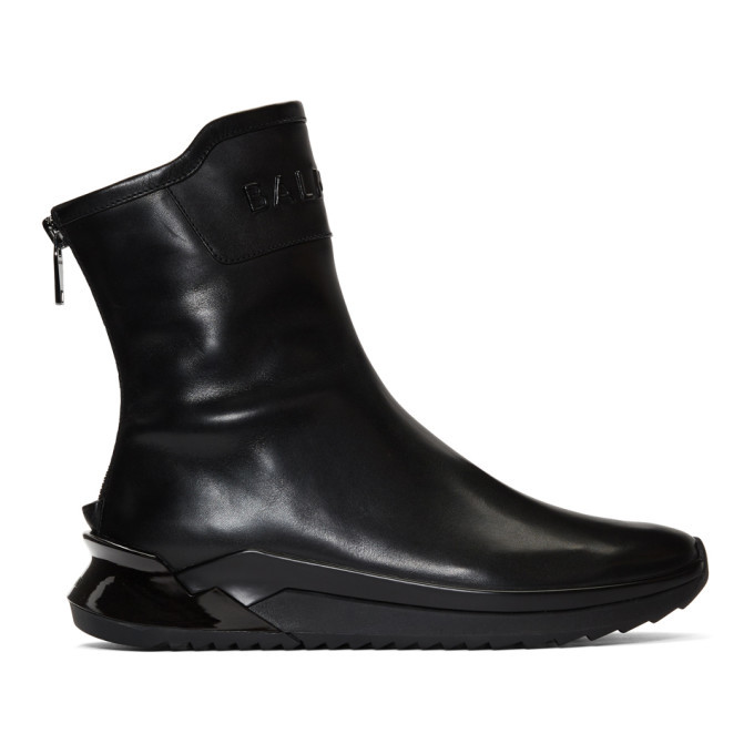 Photo: Balmain Black Glove High-Top Sneakers
