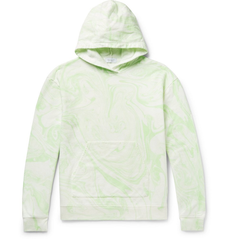 Photo: John Elliott - Printed Loopback Cotton-Blend Jersey Hoodie - Green