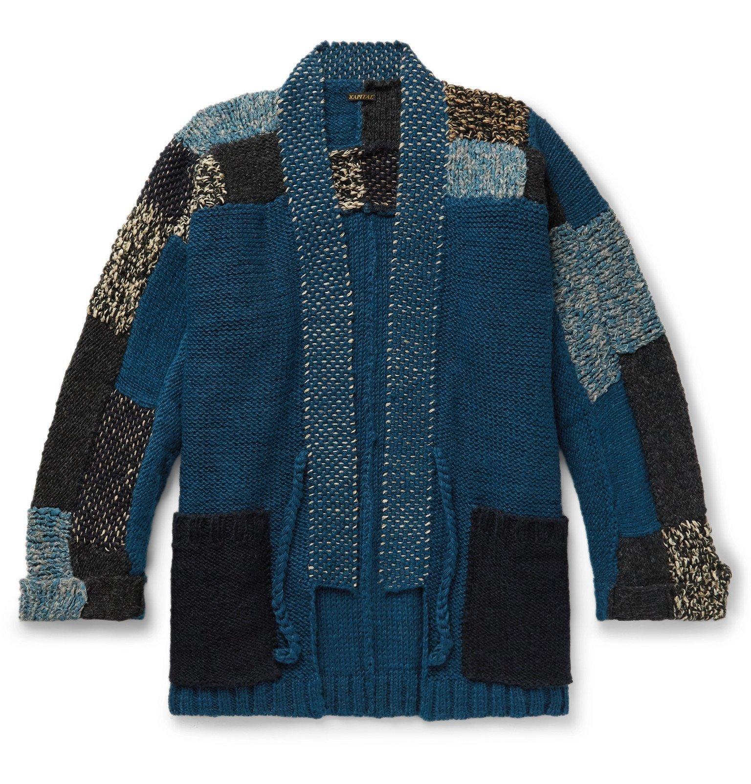 Photo: KAPITAL - Patchwork Wool, Hemp and Linen-Blend Cardigan - Blue