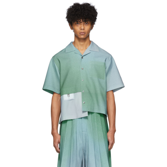 Photo: Keenkee Blue Gradient Panel Short Sleeve Shirt