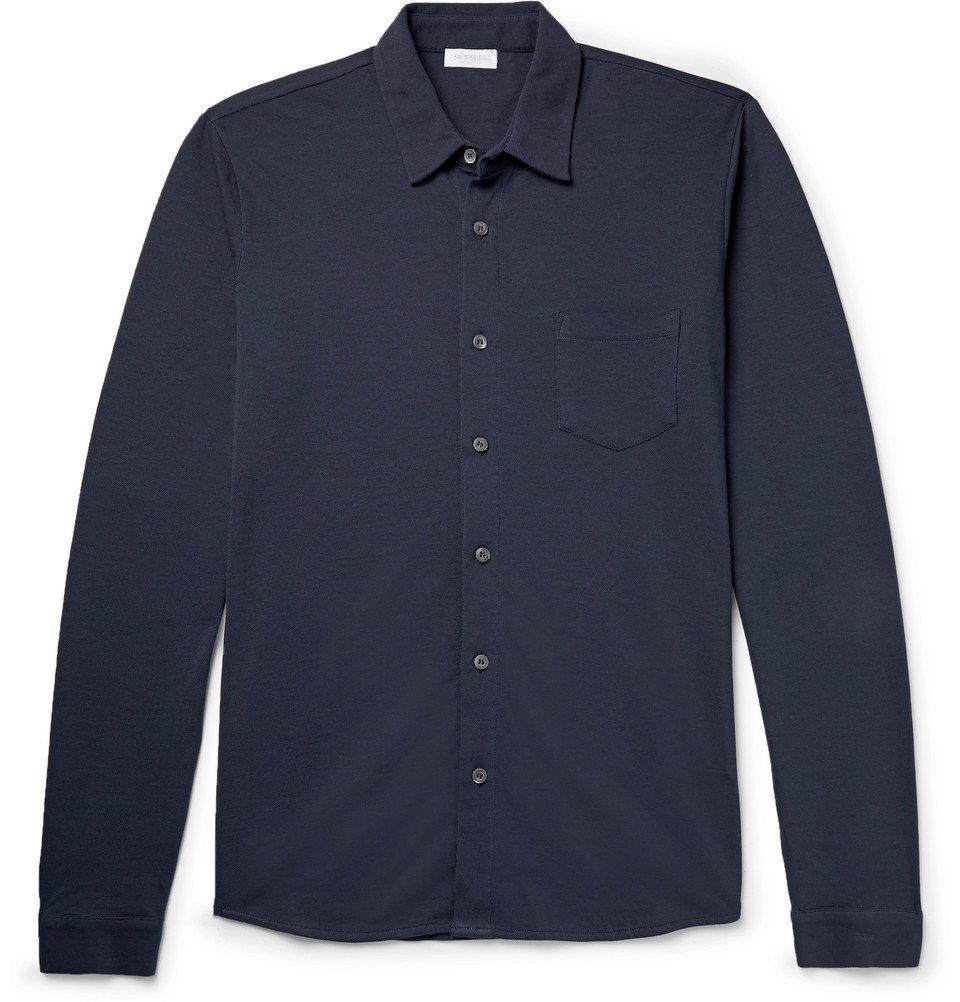 Sunspel - Pima Cotton-Piqué Shirt - Men - Navy