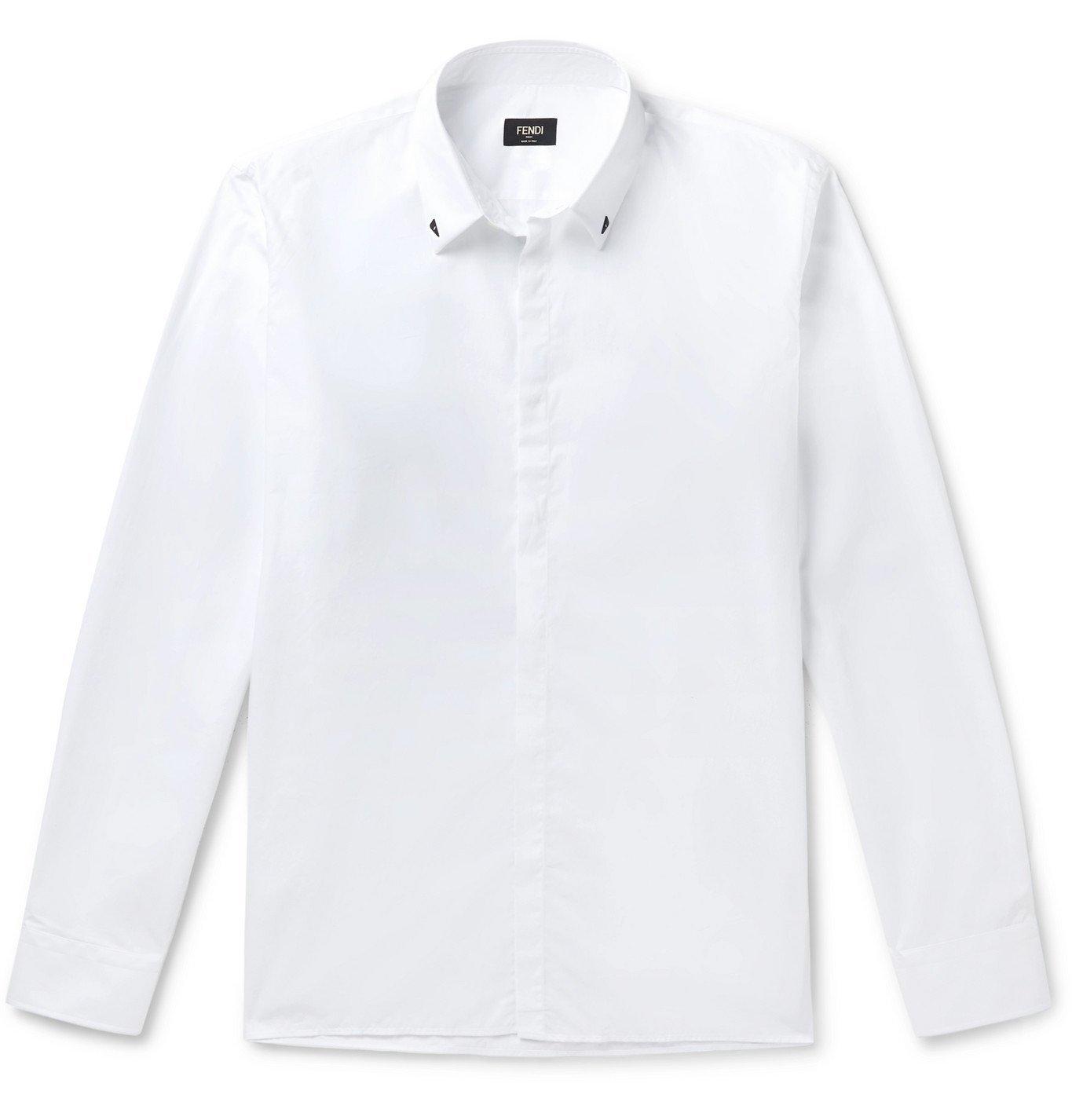 Photo: Fendi - Slim-Fit Appliquéd Cotton Shirt - White