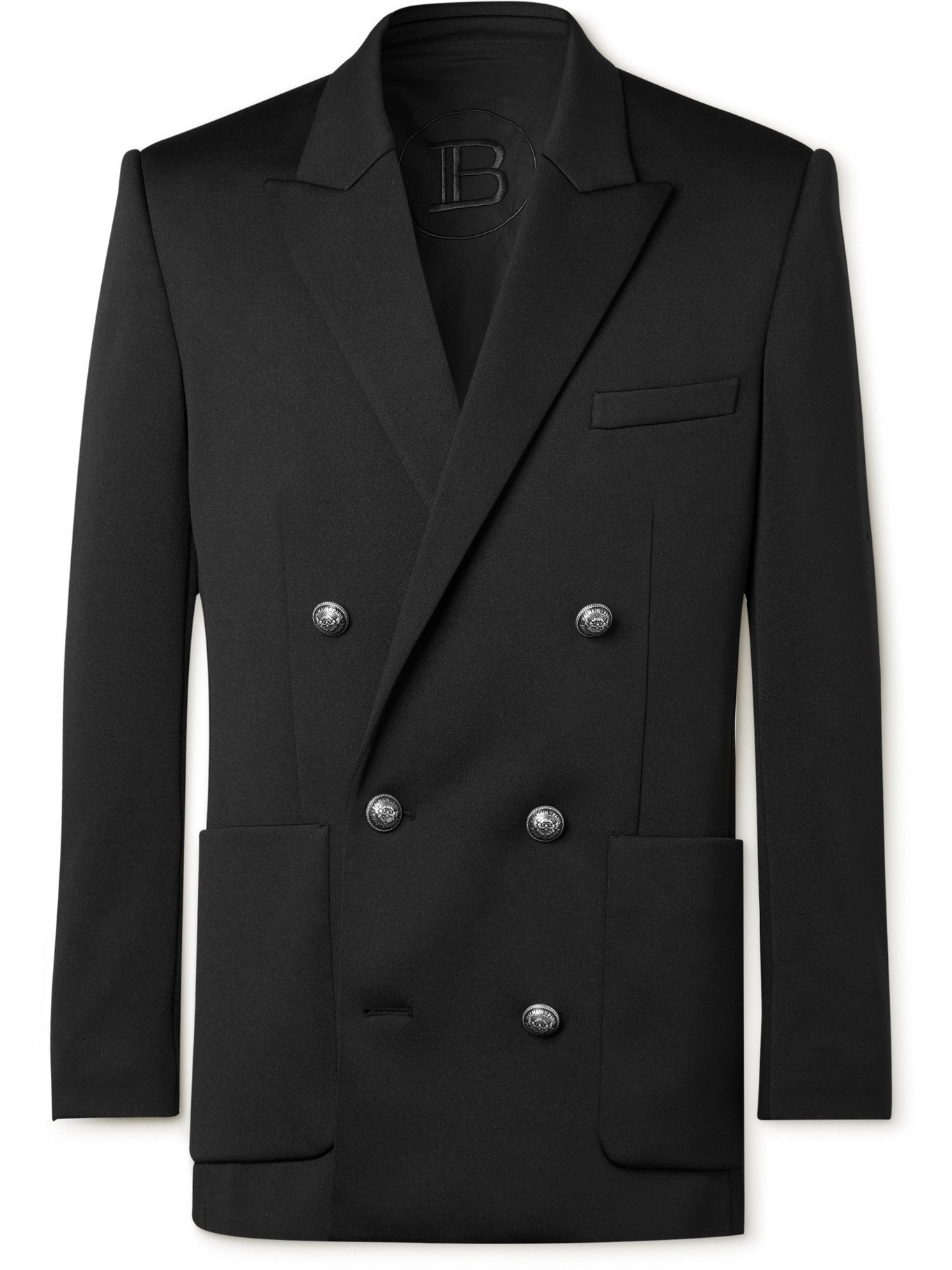 Photo: BALMAIN - Double-Breasted Jersey Blazer - Black - IT 44
