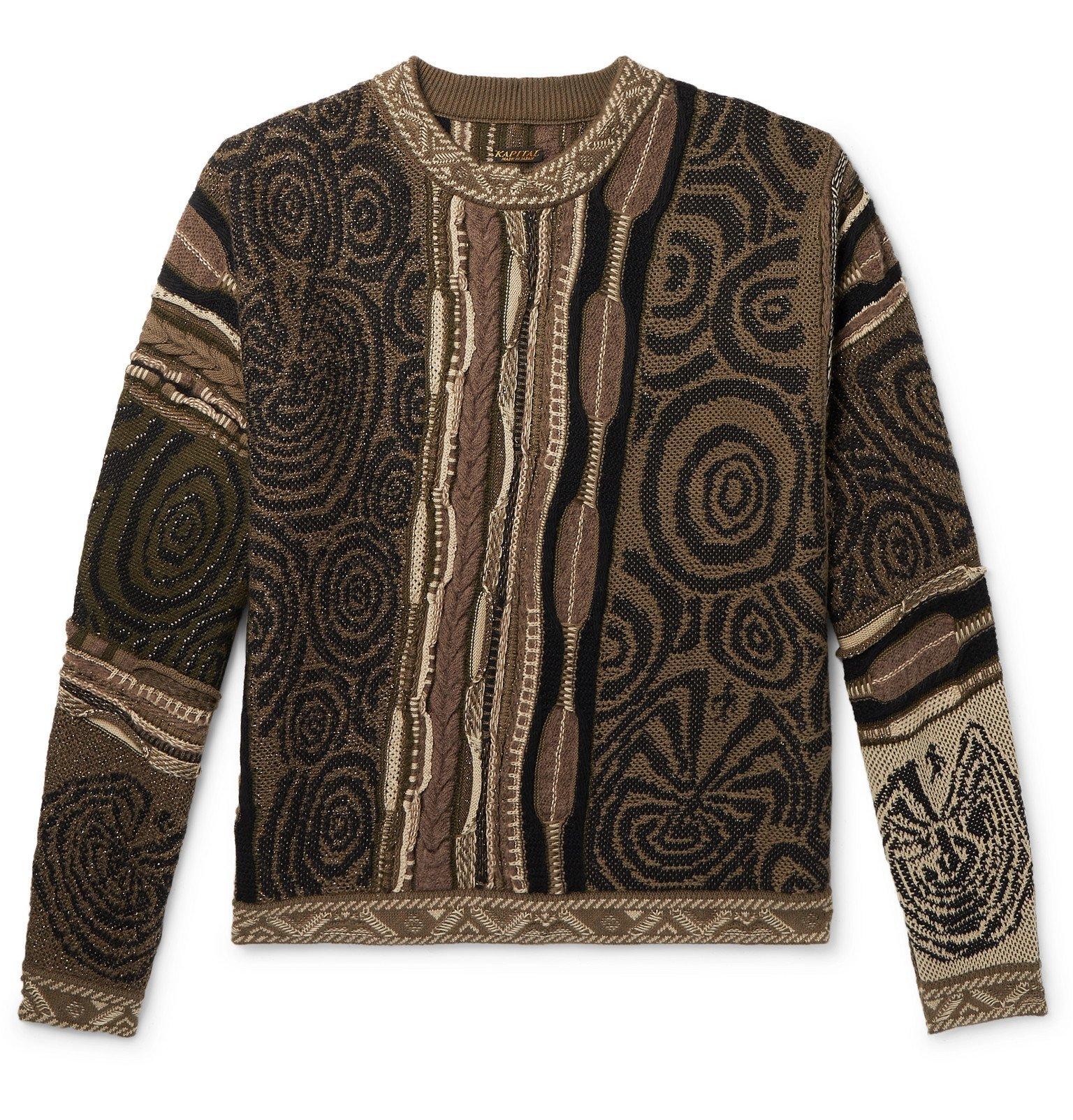 Photo: KAPITAL - Textured Cotton-Blend Sweater - Brown