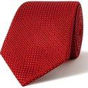 GIORGIO ARMANI - 8cm Silk and Cotton-Blend Jacquard Tie - Red