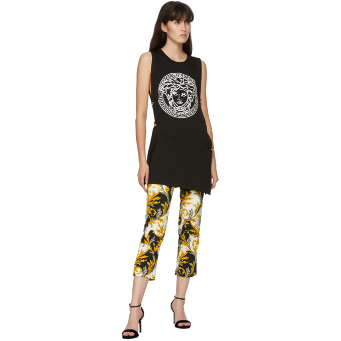 Versace Black and White Barocco Print Jeans