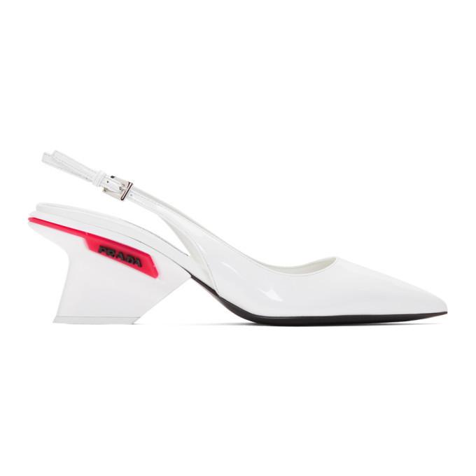 Prada White Slingback Logo Heels Prada