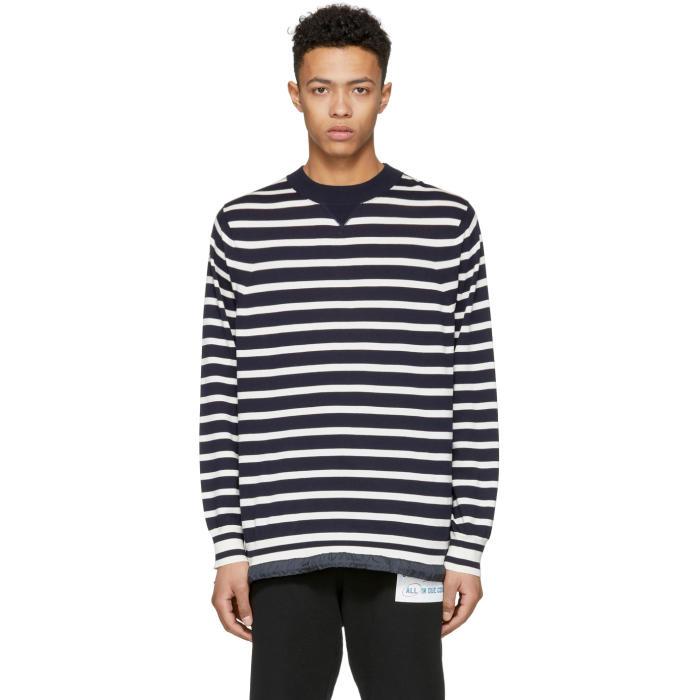 Sacai Navy and White Striped Drawstring Sweater