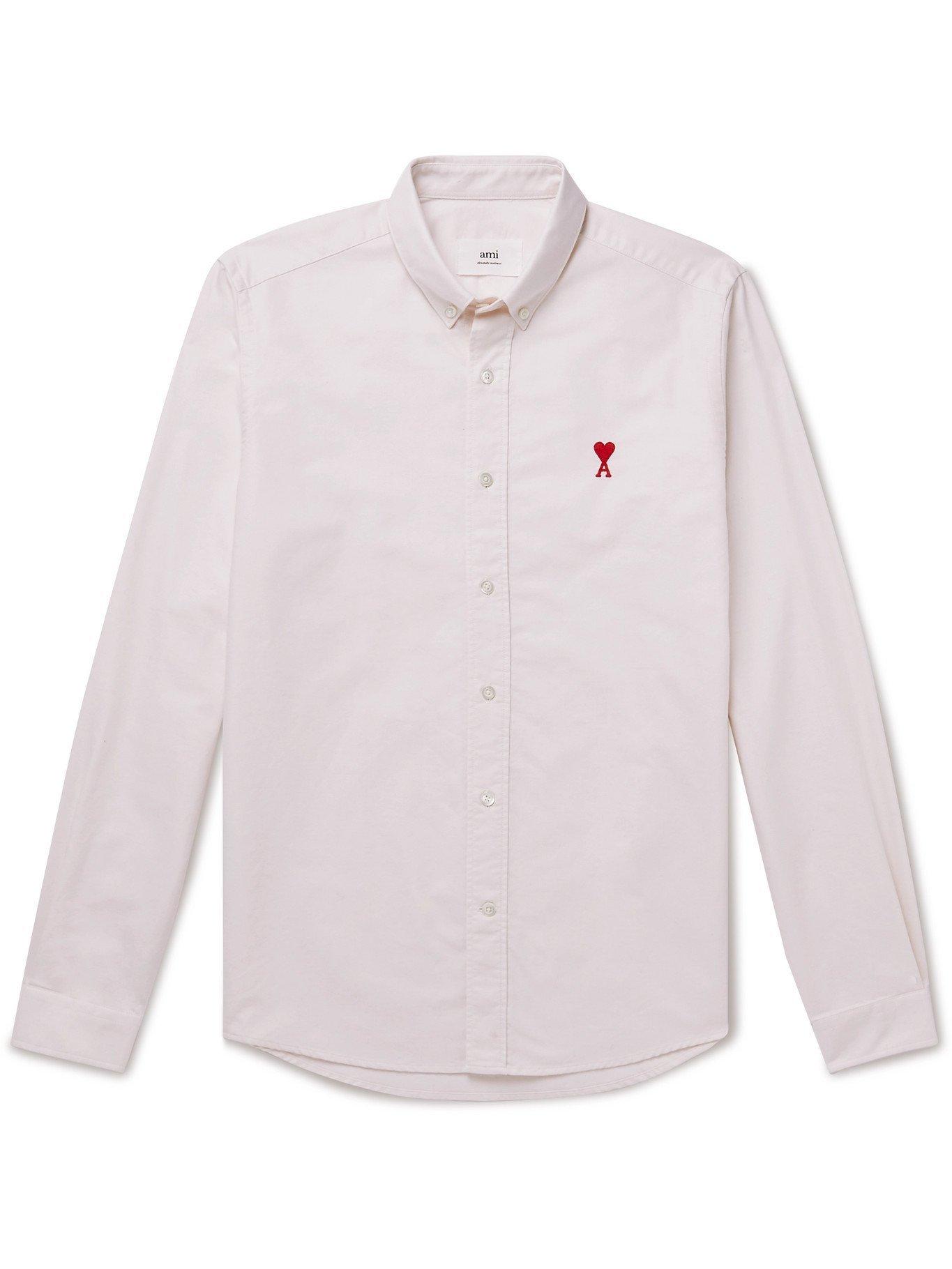 AMI PARIS - Slim-Fit Logo-Embroidered Cotton Oxford Shirt - Neutrals
