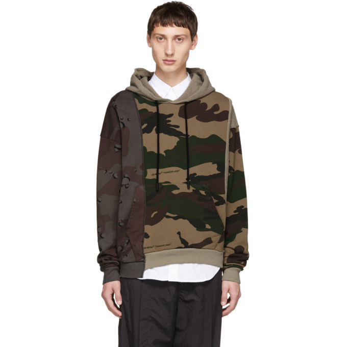 Off White Multicolor Camo Reconstructed Hoodie Off White