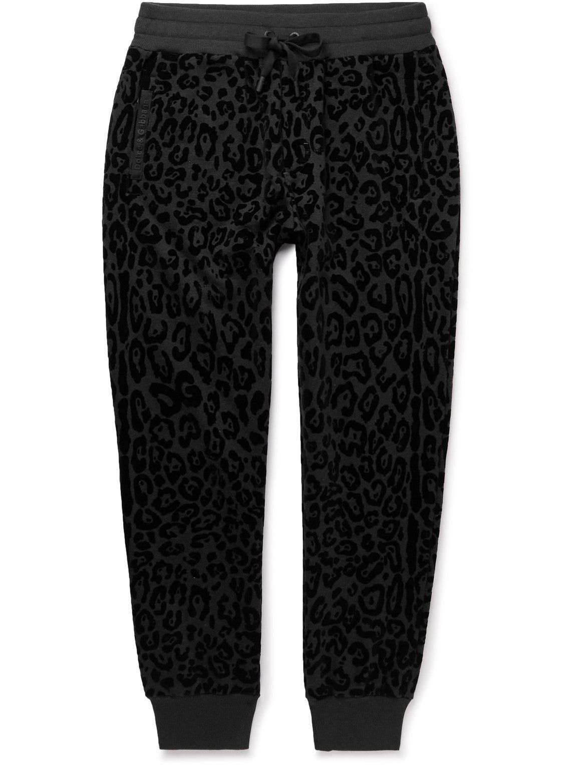 Photo: Dolce & Gabbana - Tapered Leopard-Flocked Cotton-Jersey Sweatpants - Black