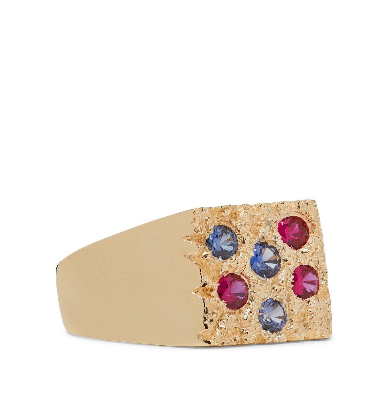 Photo: Bleue Burnham - Grand Rose Garden 9-Karat Gold Sapphire Signet Ring - Gold