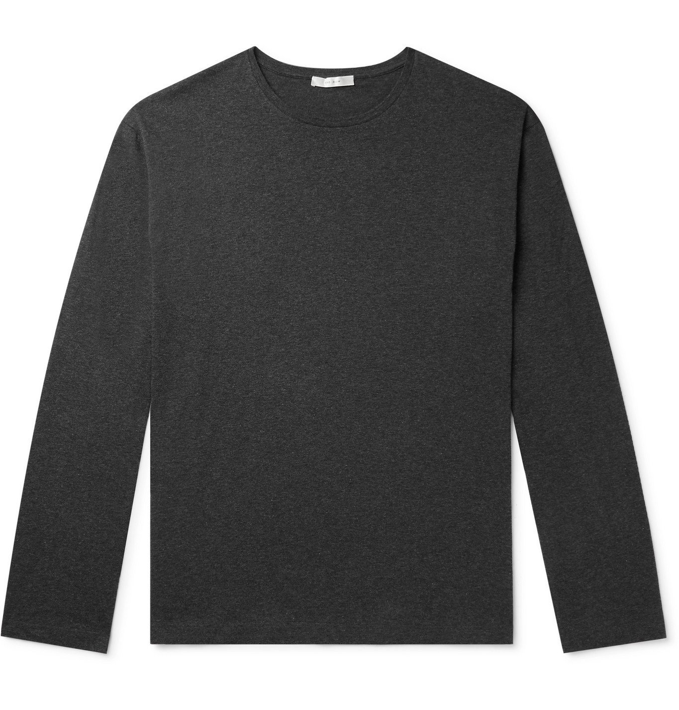Photo: THE ROW - Jaco Mélange Cotton and Cashmere-Blend Jersey T-Shirt - Gray