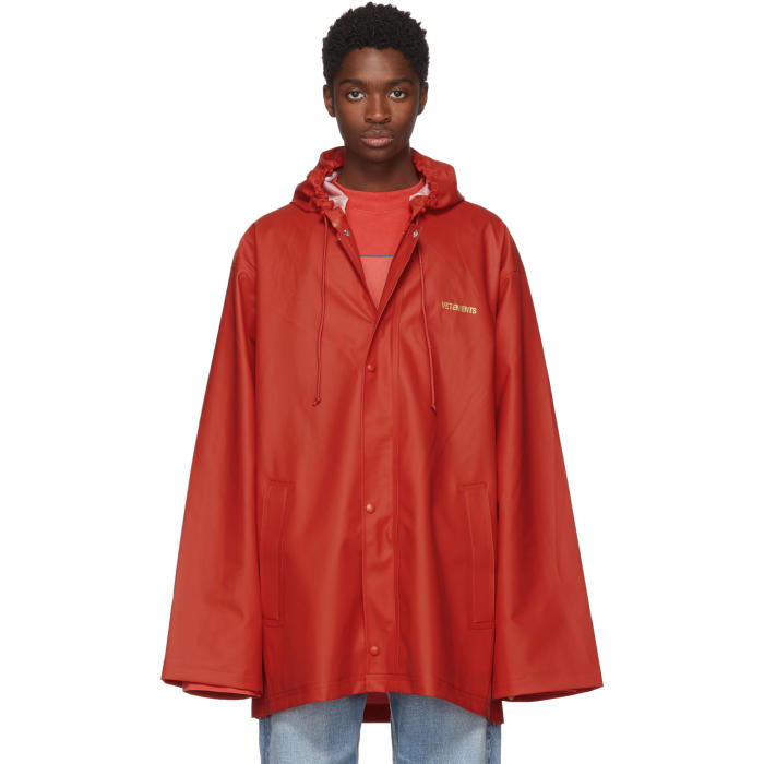 Photo: Vetements Red Short Logo Rain Coat