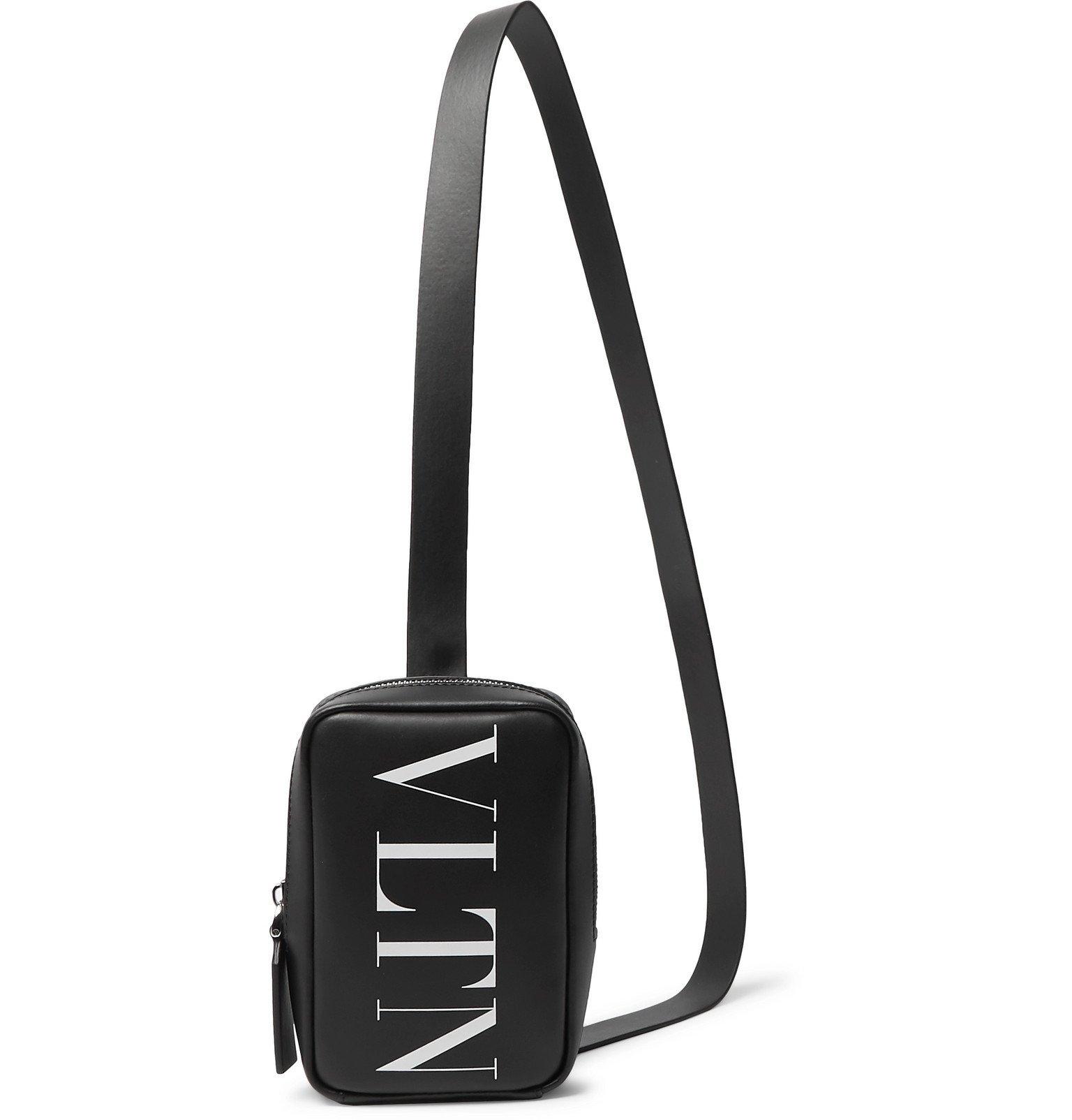 Photo: Valentino - Valentino Garavani Logo-Print Leather Messenger Bag - Black