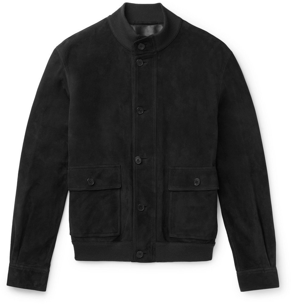 Photo: The Row - James Suede Bomber Jacket - Dark gray
