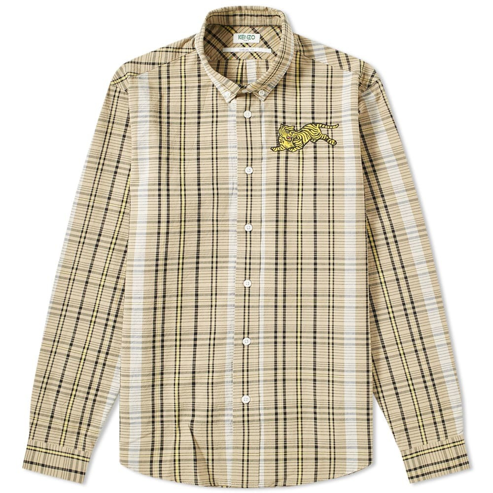 Photo: Kenzo Jumping Tiger Check Button Down Shirt Dark Beige