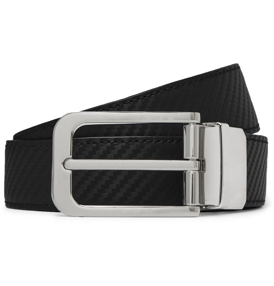 Photo: Dunhill - 3cm Black and Brown Reversible Textured-Leather Belt - Black