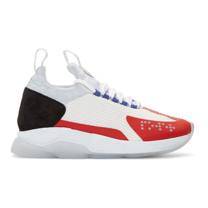 Photo: Versace White and Red Chain-Prene Reaction Sneakers