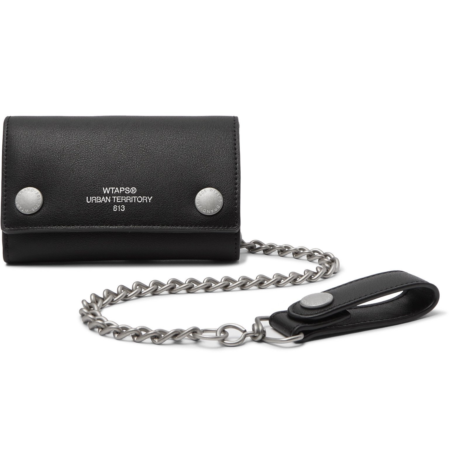 Photo: WTAPS - Chain-Embellished Logo-Print Faux Leather Wallet - Black
