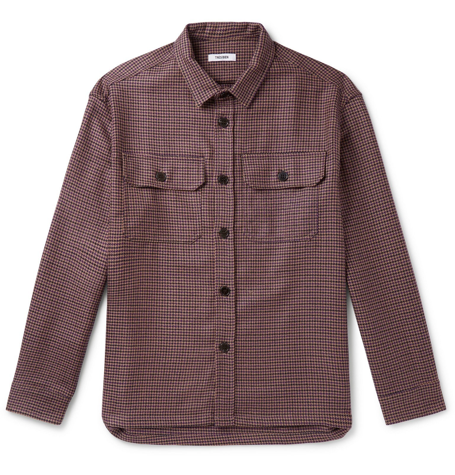 Photo: Très Bien - Houndstooth Virgin Wool Overshirt - Purple